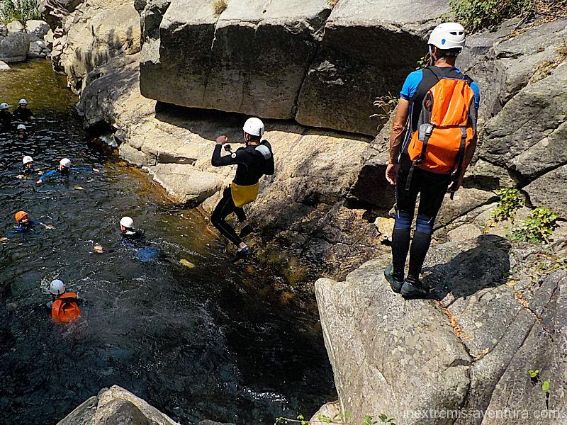 Family canyoning in Gorges du Terme in Amelie les Bains - Pyrenees Orientales - South France