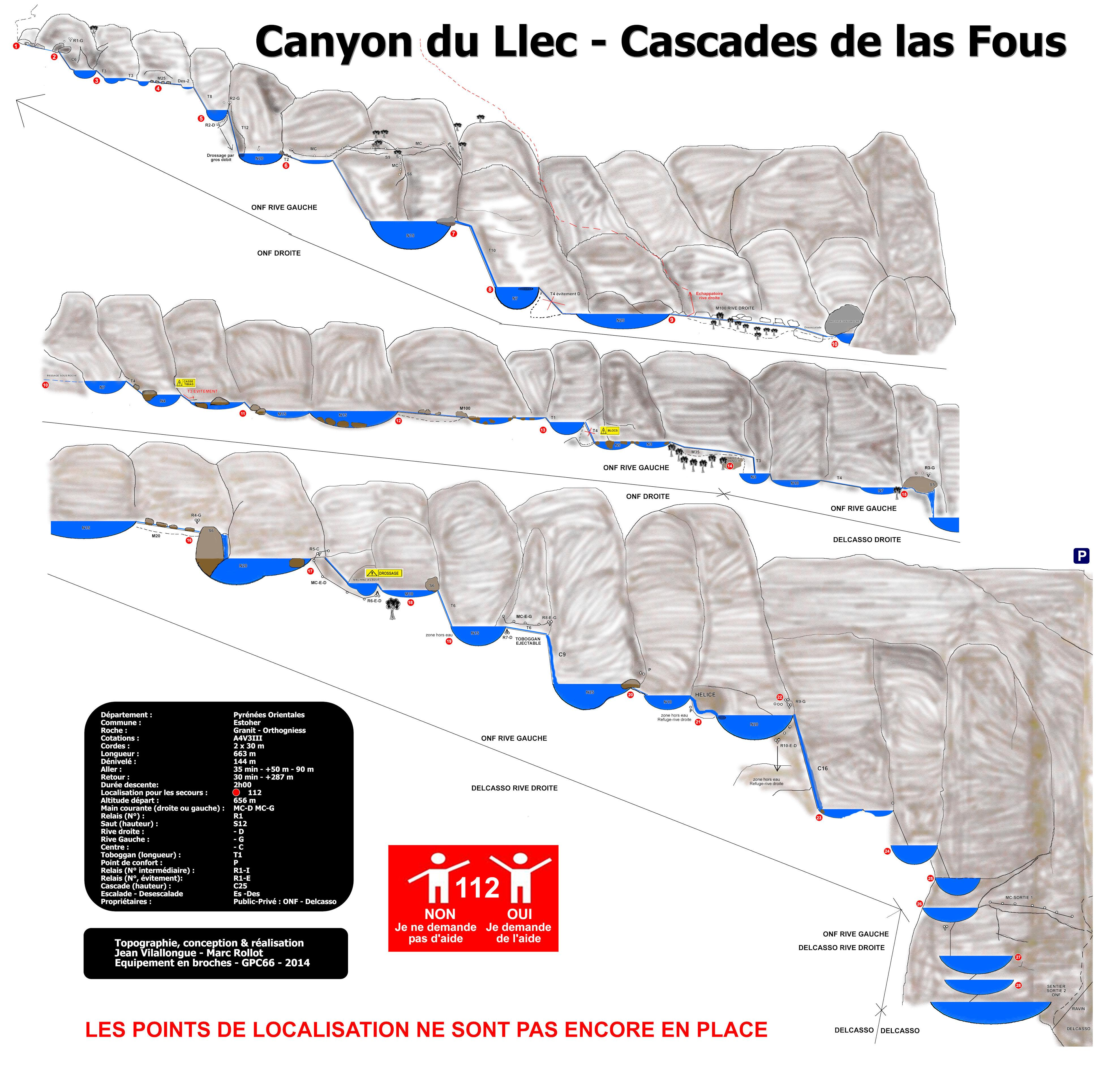 Topography Sport Canyoning in the Llech - Pyrenees - Orientales - South France